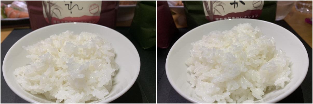 炊き上がりの比較。左が「ひとめぼれ」、右が「どまんなか」